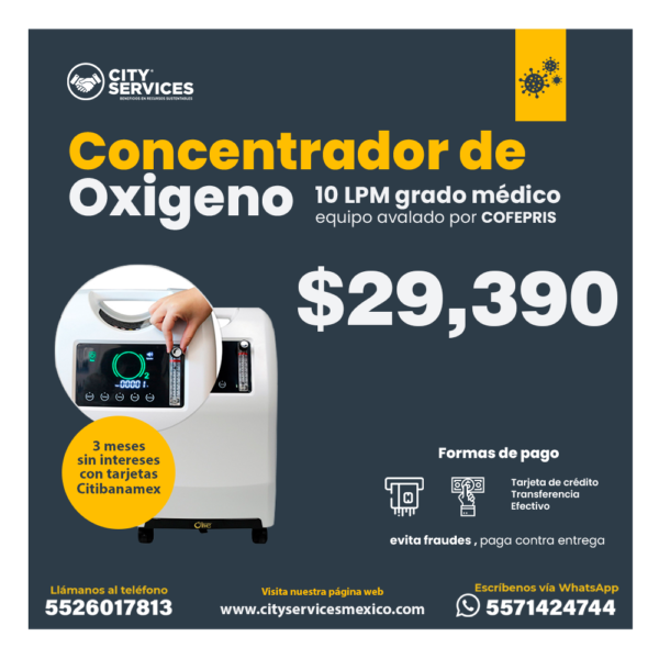 City Services Mexico concentrador oxigeno 10 LPM